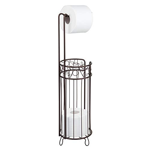 InterDesign Twigz Free Standing Toilet Paper Holder - Dispenser and Spare Roll Storage for Bathroom, Bronze
