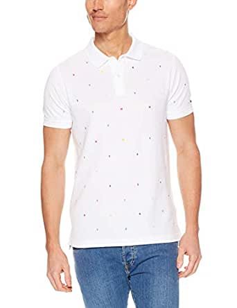 TOMMY HILFIGER Men's Embroidered Slim Fit Polo Shirt, Bright White, X-Small