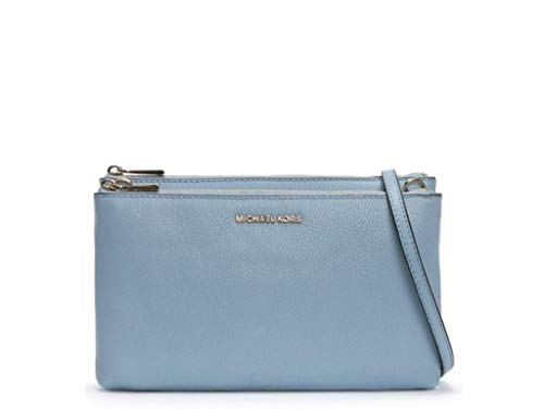 Michael Kors Adele Leather Double Zip Crossbody Bag - Pale Blue