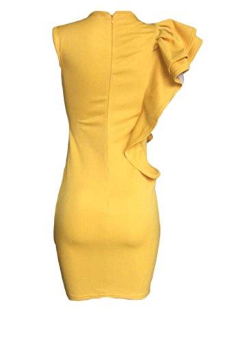 Donne Giallo Partito Del Colore Balze Vestiti Sexy Maniche Midi Delle Di Bodycon Senza Jaycargogo Clubwear 6PEqwgpx