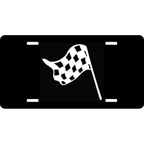 URCustomPro Nascar Indy Checkered Racing Flag(8) Personalized Humor Funny License Plate Cover Aluminum Metal Front Vanity Tag Auto Car Accessories - 12x6 Inches