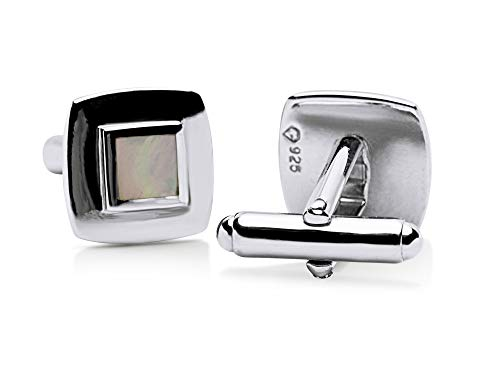 - White Mother of Pearl English Sterling Silver Cufflinks