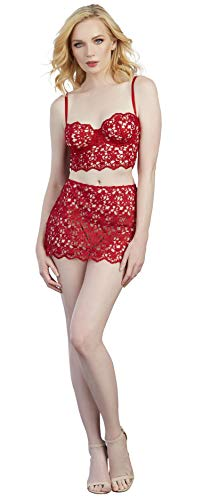 Bustier Lace Cropped - Dreamgirl Women's Venice Embroidery Cropped Bustier and Lace Skirt Set, Ruby, Small