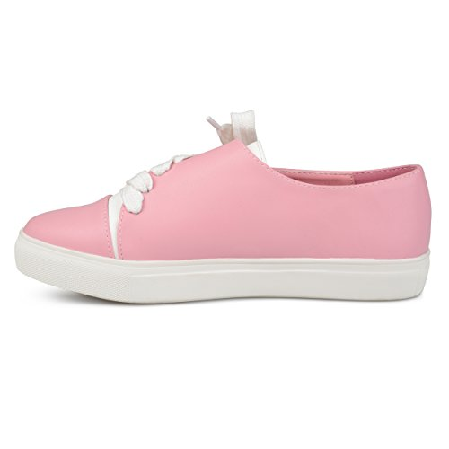 Journee Collection Womens Vegan Leather Diagonal Lace-up Sneakers Pink sIEgdOCYR