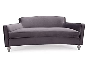 TOV Furniture The Oslo Collection Modern Style Velvet Upholstered Living  Room Rounded Sofa With Ash Legs