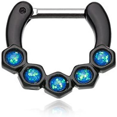 Amazon Com Wildklass Jewelry Black Septum Clicker 16g 1 4 6mm Light Blue Opal Hexa Gemina Septum Ring Jewelry