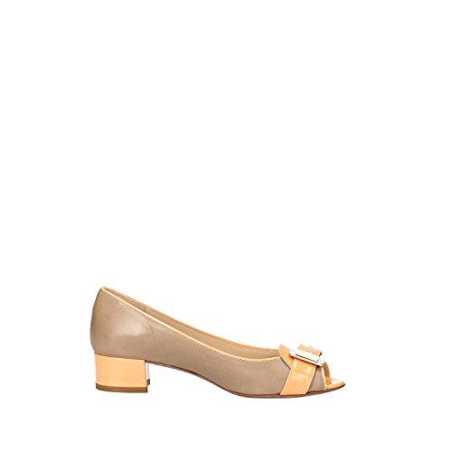 CALPIERRE Zapatos de Salón Mujer Beige Cuero Naranja AG724 (40,5 EU)