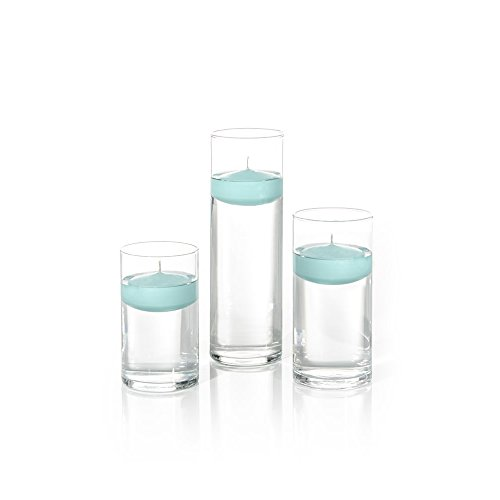 Yummi Set of 18 Floating Candles and Cylinder Vases - Blue Jade