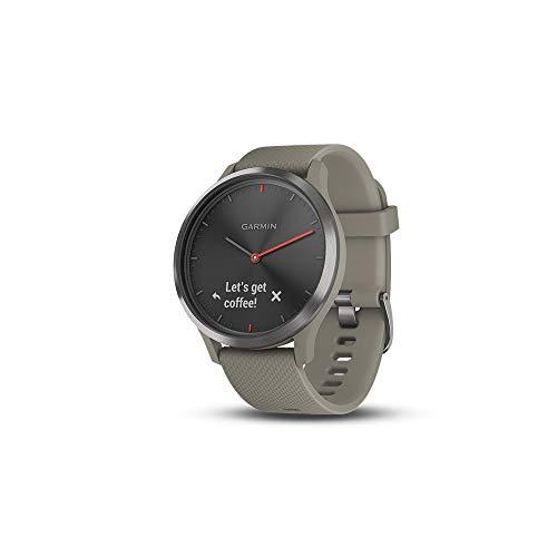 (Garmin vívomove HR, Hybrid Smartwatch for Men and Women, Black w/Sandstone Silicone Band)