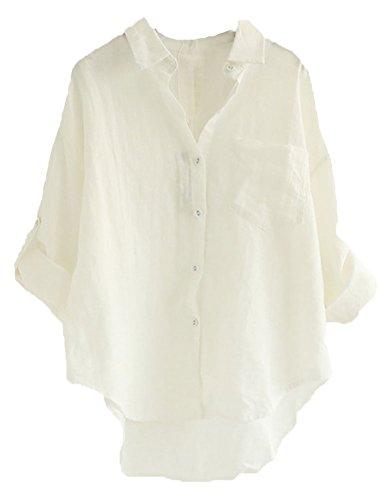 Minibee Women's Linen Blouse High Low Shirt Roll-Up Sleeve Tops White ()