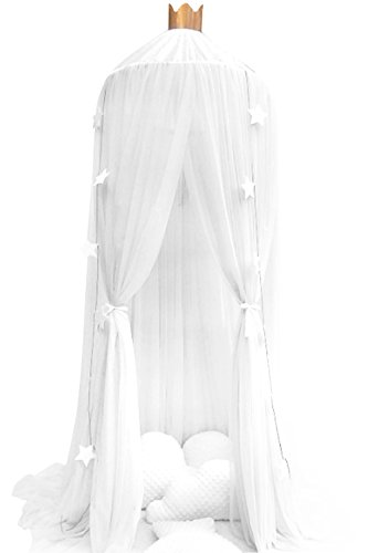 Iwotou Mosquito Net Bed Canopy Play Tent Bedding for Kids Playing Reading with Children Round Lace Dome Netting Curtains, Baby boys and girls Games House - Big Gold Frame