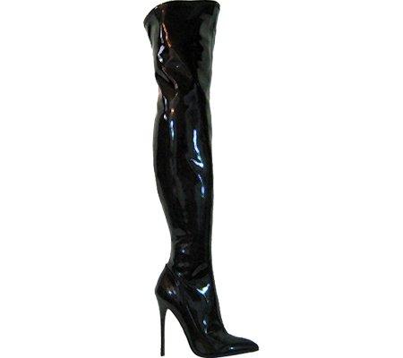 Boot Pu Highest Heel Patent Black Fierce Stretch Women's 101 w6TCw