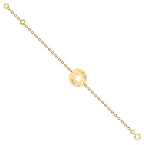 Orleo - REF10988BB : Bracelet Enfant Or 18K jaune - Etoile 14 cm - Fabriqué en France