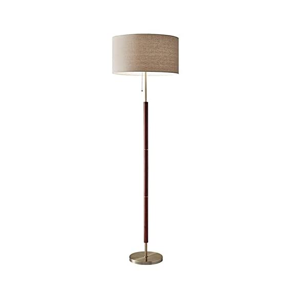 "Adesso 3377-15 Floor Lamp Hamilton Floor Lamp, Smart Outlet Compatible, 65.5"" x 19"" x 18"", Silver - Great in urban or mid-century settings, the table lamp has a modern form warmed by a walnut eucalyptus wood and antique brass finishes A natural, linen fabric shade Smart Outlet Compatible - living-room-decor, living-room, floor-lamps - 31lD0vfe4xL. SS570  -"