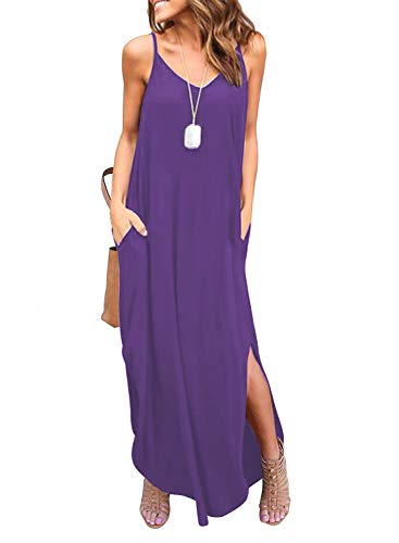 HUSKARY Women's Summer Sleeveless Casual Strappy Split Loose Dress Beach Cover Up Long Cami Maxi Dresses with Pocket Purple 5 Pocket Stretch Fabric