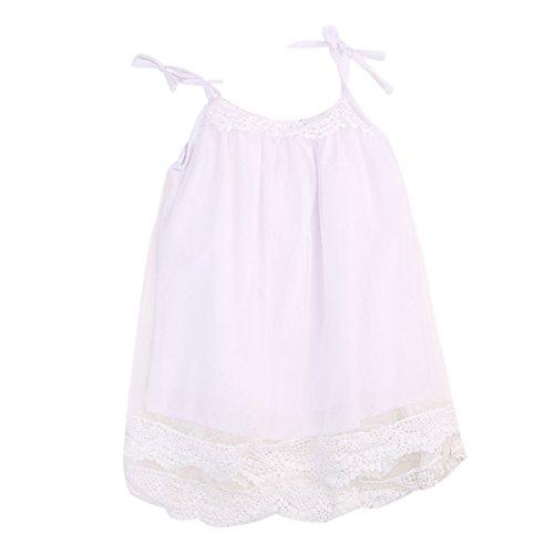 Flower Tiger Little Girls Lace Sleeveless Sling Yarn Dresses Beach Sundress (4-5 T, White)