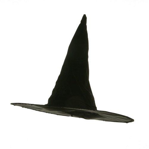 Flocked Plastic Witch Hat-Black
