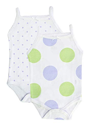 Feathers Baby Girls Polkadot Print 100% Cotton Super Soft Camisole Onesies 2-Pack,12-Months,Polkadot