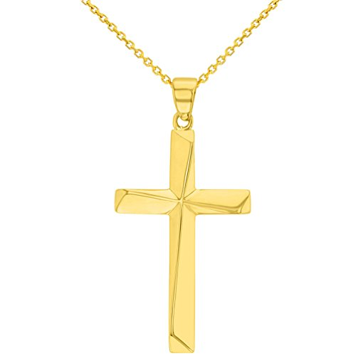Solid 14K Yellow Gold Elegant Religious Plain Cross Pendant Necklace, (14k Gold Plain Cross Necklace)