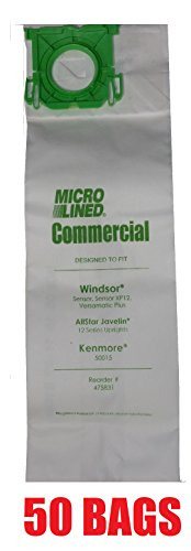 (50 Sebo, Windsor Sensor Micro-Lined Commercial Upright Vacuum Bags, Fits 5093AM, 5300. 50 Pack.)
