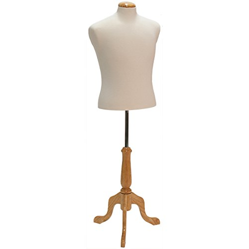 KC Store Fixtures 26106 Men's Shirt Form Size 42, Cream Jersey Fabric with Natural Wood Dome Neck Block, Includes Tripod Base by KC Store Fixtures