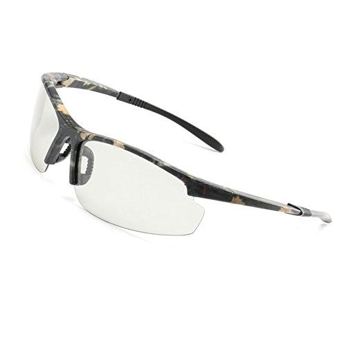 (Photochromic Sunglasses Semi Rimless HD Polarized Sports Cycling Glasses By Long Keeper (Camo))