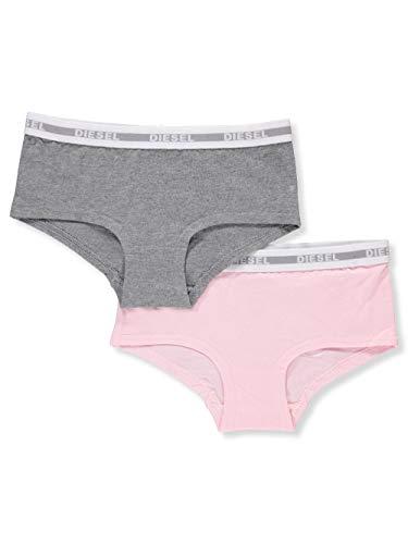 irls' Big 2 Pack Boy Short Underwear, Heather Grey/Petal, S ()