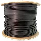 QualConnectTM 12 Strands Fiber Indoor/Outdoor Fiber Optic Cable, Multimode, 62.5/125, Black, Riser Rated, Spool, 1000 ft