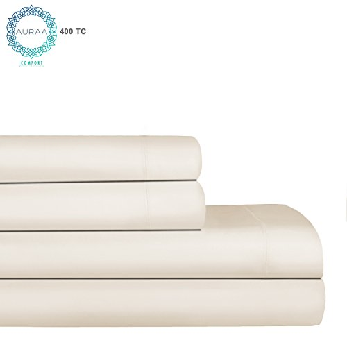 """AURAA Comfort 400 Thread Count 100% American Supima Long Staple Cotton Sheet Set,4 Piece Set, King Sheets Sateen Weave,Hotel Collection Soft Luxury Bedding,Fits Upto 16"""" Deep Pocket,Ivory"""