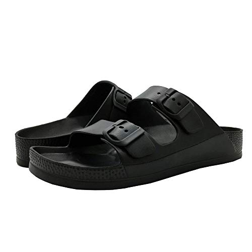 LuffyMomo Adjustable Slip on Eva Double Buckle Slides for Womens Mens (6 B (M) US Women / (Insole Length) 9.45 inch, Black) by LuffyMomo (Image #3)