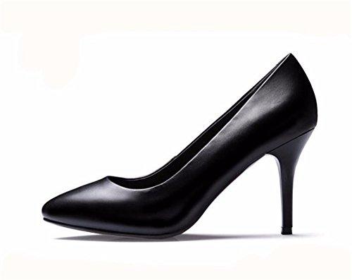 HXVU56546 Tres Estilos Muy Señalaron Los Zapatos De Tacón Alto Con Grandes Números De Profesionales Solo Zapatos Zapatos De Mujer Black 8.2CM