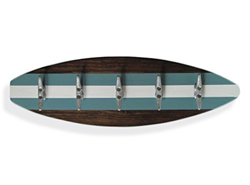"""28"""" Surfboard Coat Rack with Boat Cleats Turquoise"""
