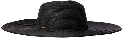 Scala Women's Big Brim Paper Braid Hat, Black, One Size (Hat Paper Brim Braid)