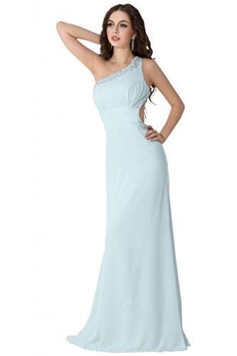 Sunvary una spalla Chiffon Retro aperto sexy Prom abiti da sera Pageant Gowns Light Sky Blue 52