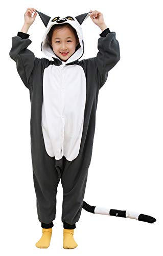 Boys Ring Tailed Lemur Animal Pajamas Sleepwear Cosplay Costume -