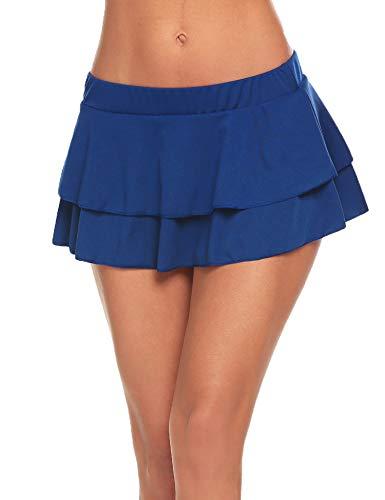 - Avidlove Women's Flirty Double Layered Ruffle Mini Skirt Sky Blue XXL