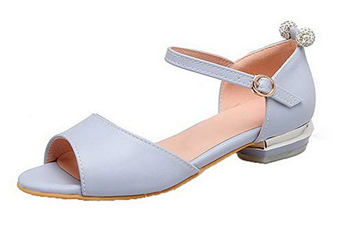 con Heel fibbia Solid Blu Pu Women Aalardom Dress Mini Sandals Tsmlh008169 nCOxX