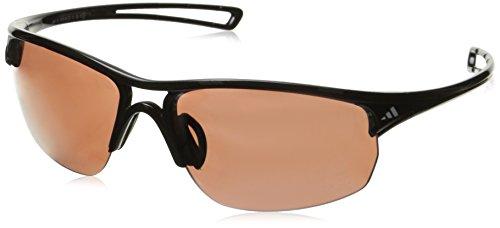 adidas Raylor 2 L Non-Polarized Iridium Oval Sunglasses, Shiny Black, 65 mm (Adidas Sunglasses Sports)