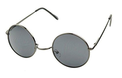 ShadyVEU - Retro Colorful Tint Lennon Style Round Groovy Hippie Wire Sunglasses (Gunmetal Frame/Black Lens, 50)