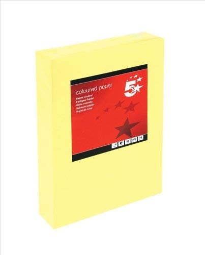 5 Star Coloured Copier Paper Multifunctional Ream-Wrapped 80gsm A4 Medium  Yellow [500 Sheets]