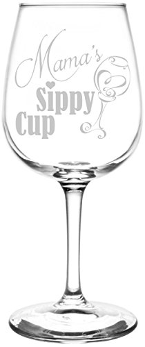(Mama) Funny Sippy Cup Novelty Present & Gift Idea Inspired - Laser Engraved 12.75oz Libbey All-Purpose Wine Taster Glass