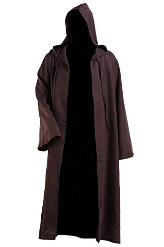 H&ZY Unisex Tunic Halloween Robe Hooded Cloak Costume Brown -