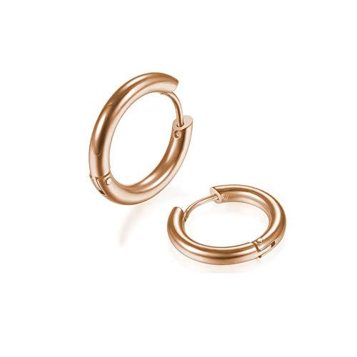 2Pcs 316L Surgical Stainless Steel Huggie Hoop Earrings 10mm Rose Gold Plating Hinged Cartilage Piercing Sleeper Earrings for Men Womens Sensitive Ears(Rose Gold 10mm)