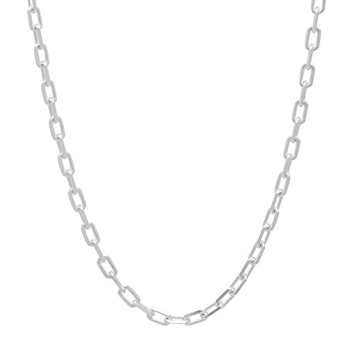 Solid Sterling Silver Cable Chain (Solid 925 Sterling Silver 3mm Cable Chain Necklace Made in Italy,)