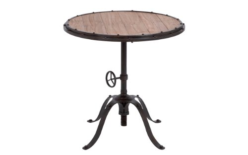 Deco 79 Metal Wood Round Table Accent Collection, 30 by 30-Inch, Brown