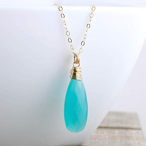 Aqua Blue Chalcedony Quartz Pendant Necklace Gold Filled Jewelry Gift for Women 18 Inch Length