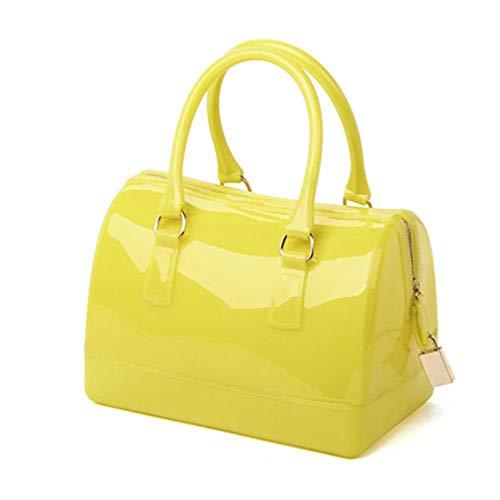 Jelly Clutch Light Handbag Yellow Beach Pink Bag Bag Silicone 5Bqq7XP