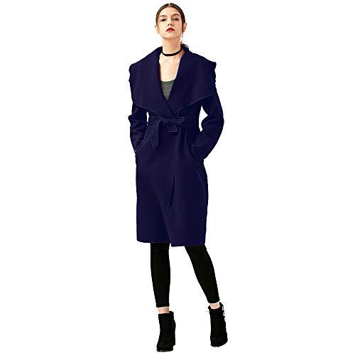 Luckycat Abrigo de Invierno de Las Mujeres Ancho de la Solapa del cinturón de Mezcla de Lana de Bolsillo Largo Abrigo de Lana Outwear: Amazon.es: Ropa y ...