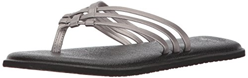 Sanuk Women's Yoga Salty Metallic Flip-Flop, Pewter, 10 M - Usa Sanuk