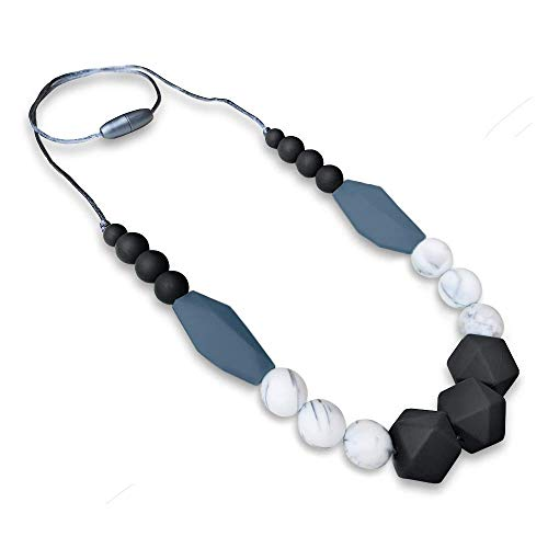 (Baby Teething Necklace for Mom to Wear: Silicone Baby Teether Necklace for Teething Pain Relief in Babies & Toddlers| Light Weight & Stylish Chewable Necklace for Boys & Girls (Black/Marble/Grey))